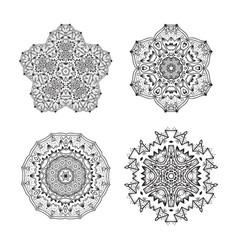 set of ethnic fractal mandala tattoo design looks vector image