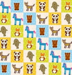 Set of funny animals panda bear wolf fox fur seal vector image