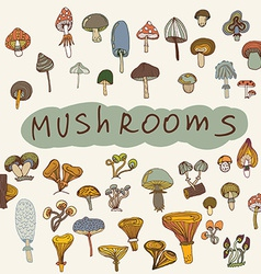 Set of hand-drawn mushrooms vector image