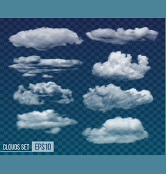 set of realistic transparent night clouds vector image