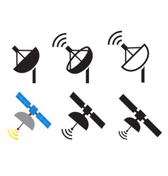 set of satellite icons vector image
