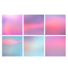 Set of square blurred nature blue pink backgrounds vector