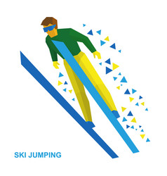 Ski jumping cartoon skier during a jump vector