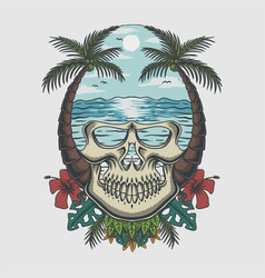 skull beach tropical vector image