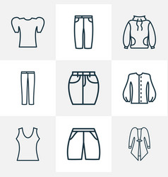 Style icons line style set with puffed sleeve vector