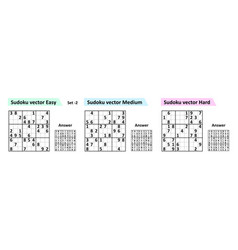 Sudoku game with answers simple design set vector