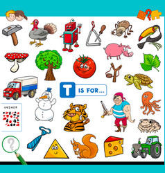 T is for educational game for children vector