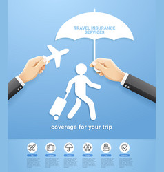 Travel insurance policy services conceptual design vector