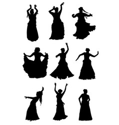 Tribal belly dancer silhouettes vector