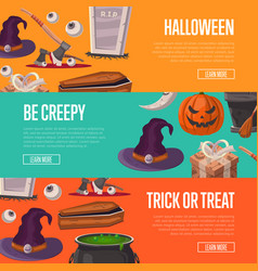 Trick or treat and be creepy halloween flyers vector