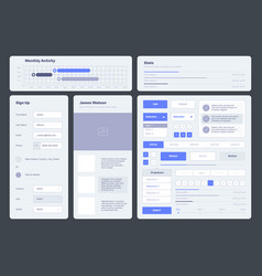 ui template web dashboard elements buttons vector image
