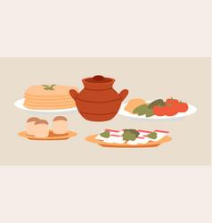 ukrainian cuisine dishes vector image
