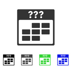 Unknown month calendar grid flat icon vector