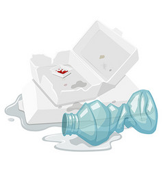 Used foam box and plastic bottle vector image