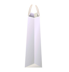 White paper shopping bag of avarege size side view vector
