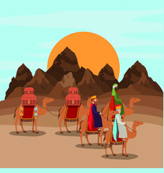 wise men traveling in the desert christmas scene vector image
