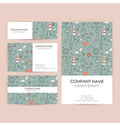 Business Set Template with Vintage Hand Drawn vector image vector image