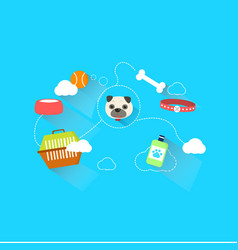 dog link with accessories and toy with dash line vector image vector image
