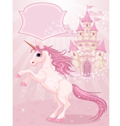 fairy tale castle and unicorn vector image vector image