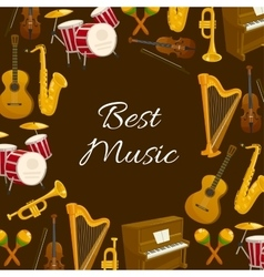 Music poster with musical instrument round frame vector image vector image