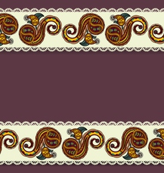 Background with lace and Ukrainian floral elements vector image
