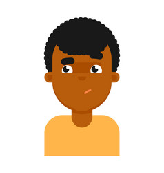 confuse facial expression of black boy avatar vector image