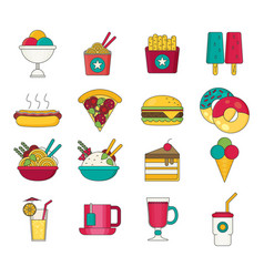 fast food icons flat vector image vector image