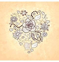 Floral doodle heart of flowers leaves ladybug vector image