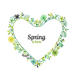 floral frame heart shape for your design vector image