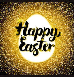 happy easter gold greeting vector image