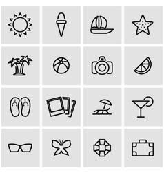 line summer icon set vector image vector image