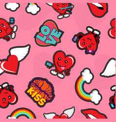 valentines day social love emoji patch background vector image
