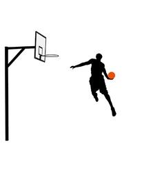 Basketball player slam dunking vector image