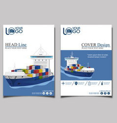commercial sea shipping banner template set vector image vector image