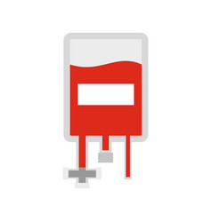 blood donation bag icon flat style vector image