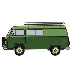 classic green minivan vector image vector image