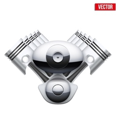 Concept of modern car engine with pistons Isolated vector image