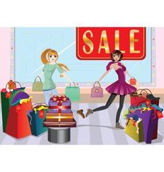 Fashion Girls at Shopping vector image
