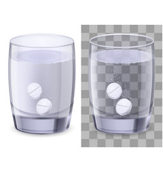 glass of water and pills on white vector image