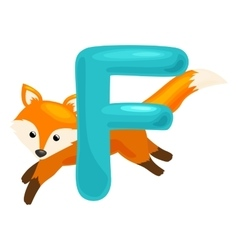 letter with animal fox for abc education in vector image vector image