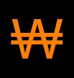 won sign orange icon on black background old vector image