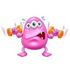 A fat pink monster exercising vector image