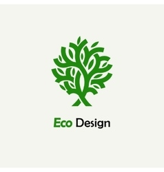 Abstract green tree Template for creating logos vector image