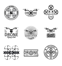 Aerial drone flying club labels badges and logos vector