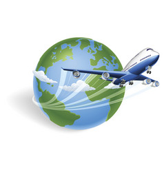 Airplane globe concept vector