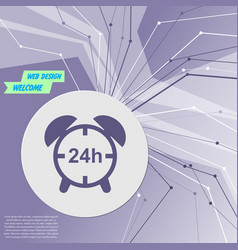 alarm clock icon on purple abstract modern vector image