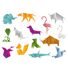 animals origami set japanese folded modern vector image