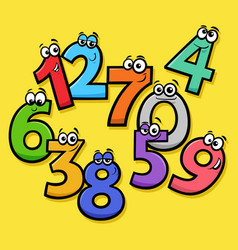 Basic numbers cartoon funny characters group vector
