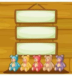 Bears below the hanging signboards vector