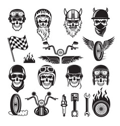 Biker symbols skull bike flags wheel fire bones vector